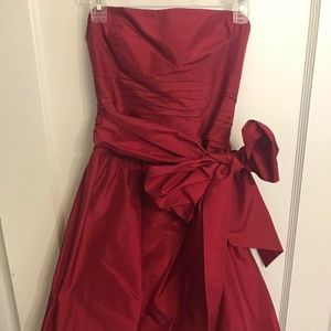 Red BCBG Bubble Strapless Dress